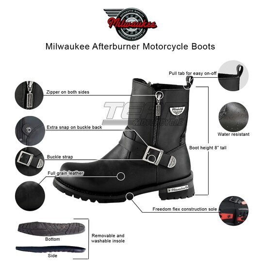 Mens Milwaukee Motorcycle Clothing Company MMCC Afterburner Motorbike Biker Riding Black Leather Boots - Infographics