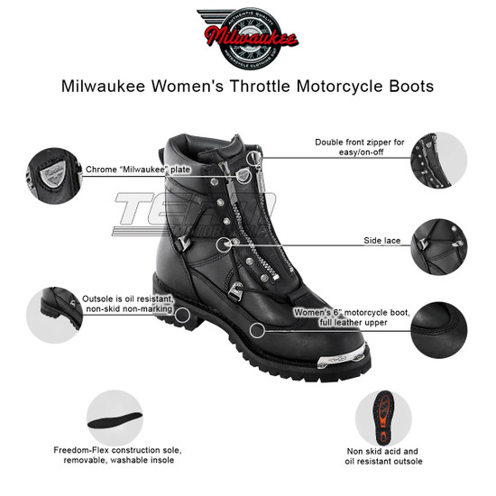 Womens Milwaukee Motorcycle Clothing Company MMCC Throttle Motorbike Biker Riding Black Leather Boots - Infographics