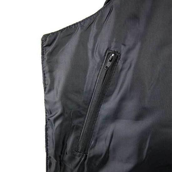 Jafrum MV101 Men's Bulletproof Style Biker Leather Motorcycle Vest-Detail View-1