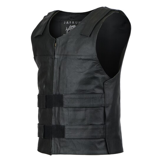 Jafrum MV101 Men's Bulletproof Style Biker Leather Motorcycle Vest