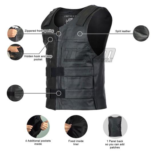 Jafrum MV101 Men's Bulletproof Style Biker Leather Motorcycle Vest - Infographics