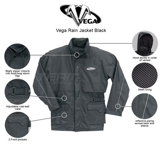 Vega Rain Jacket Black - Infographics