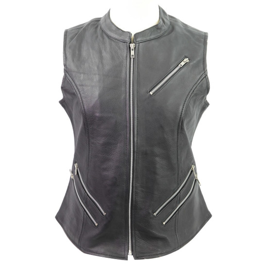 Vance VL1028 Womens Black Zipper Closure and Zipper Pocket Lady Biker Motorcycle Leather Vest - Front View