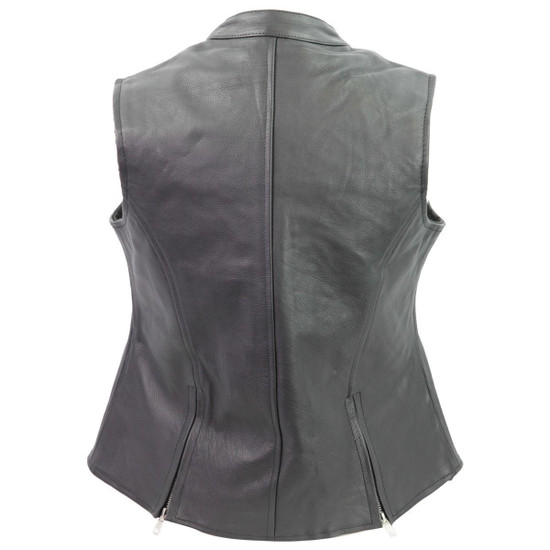 Vance VL1028 Womens Black Zipper Closure and Zipper Pocket Lady Biker Motorcycle Leather Vest - Back View
