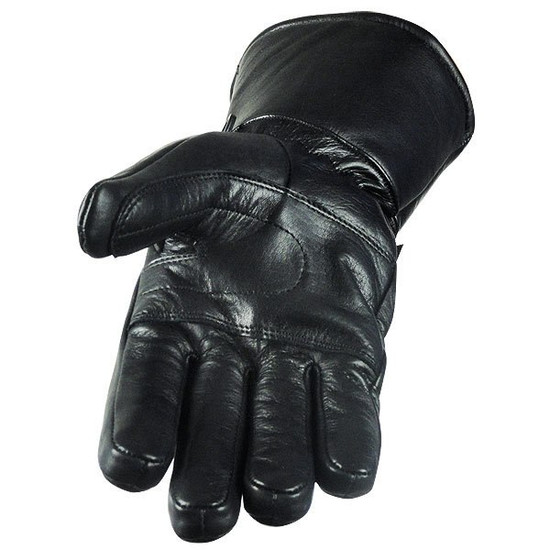 Vance GL2066 Mens Black Biker Motorcycle Leather Gloves With Rain Cover - Palm View