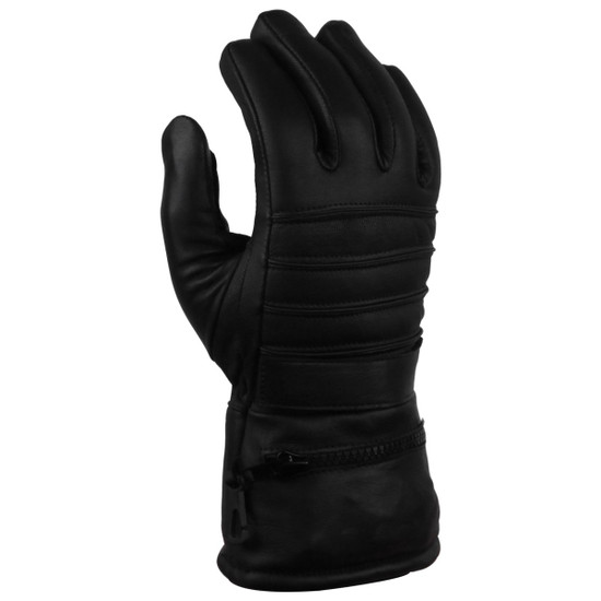 Vance GL2066 Mens Black Biker Motorcycle Leather Gloves With Rain Cover