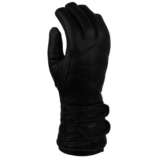 Vance GL2068 Mens Black Biker Motorcycle Double Strap Leather Gloves