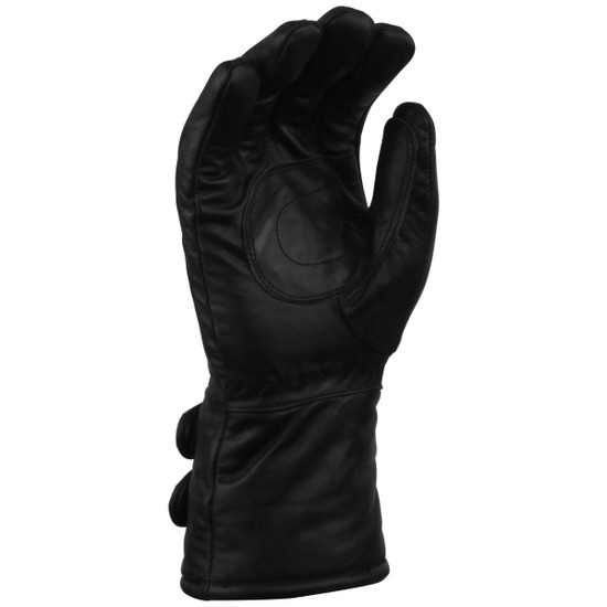 Vance GL2068 Mens Black Biker Motorcycle Double Strap Leather Gloves - Palm View