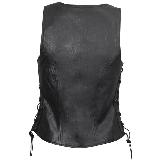 Vance VL1029 Women's Black Lace Side Zipper Pocket Premium Cowhide Leather Biker Motorcycle Vest - Back View