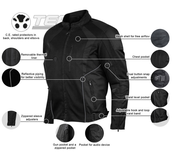 Advanced Vance VL1623B Mens All Weather Season CE Armor Mesh Motorcycle Jacket - Infographics