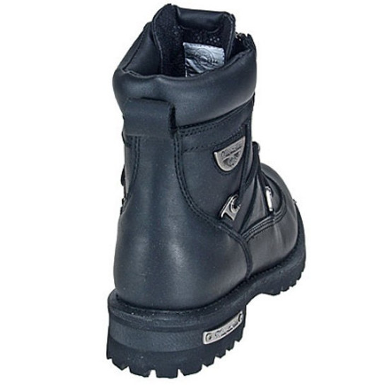 Mens Milwaukee Motorcycle Clothing Company MMCC Throttle Motorbike Biker Riding Black Leather Boots - Back View