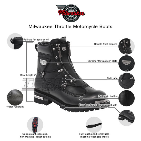 Mens Milwaukee Motorcycle Clothing Company MMCC Throttle Motorbike Biker Riding Black Leather Boots - Infographics