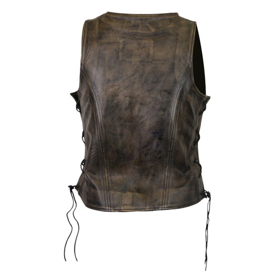 High Mileage HML1029DB Women's Vintage Distressed Brown Lace Side Zipper Pocket Premium Cowhide Leather Motorcycle Vest