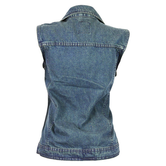 Women's Blue Denim Vest with Studded Collar - Back View