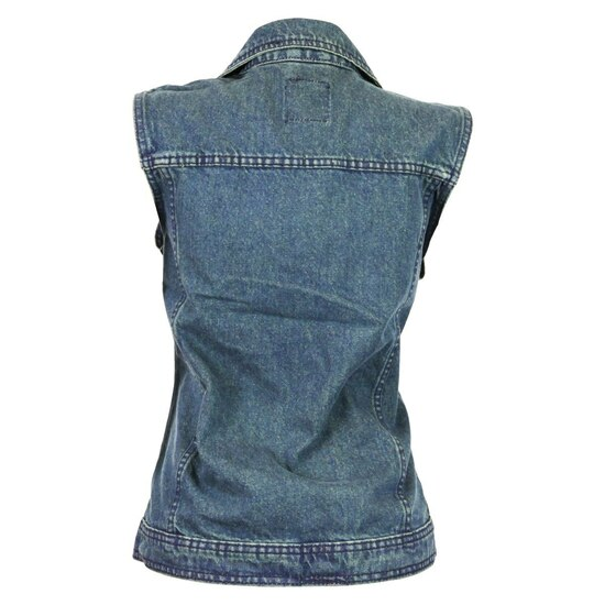 Vance VB1050BL Women's Blue Denim Motorcycle Vest With Studded Collar - Back View