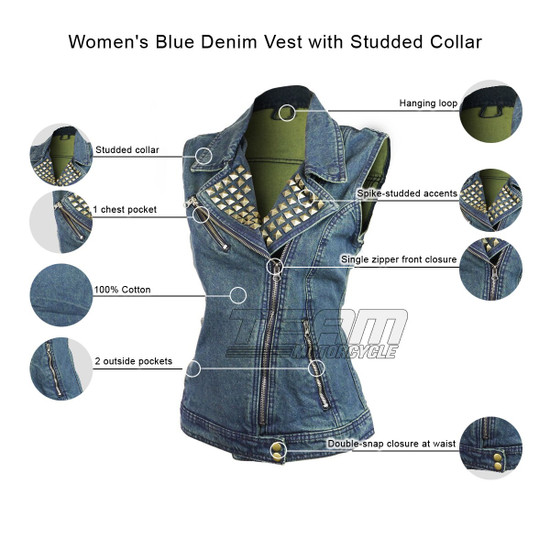 Women's Blue Denim Vest with Studded Collar - Infographics