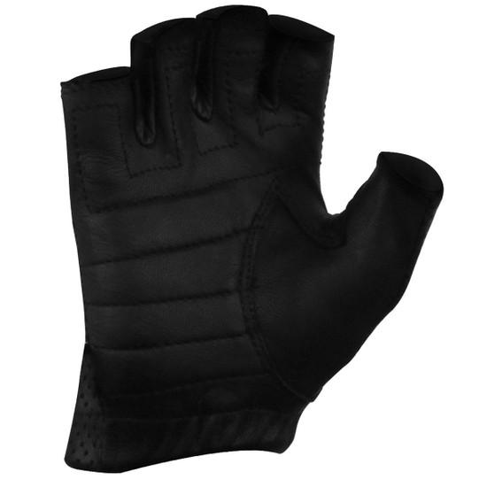 Vance GL2090 Mens Black Gel Palm Perforated Fingerless Biker Leather Gloves - Palm View