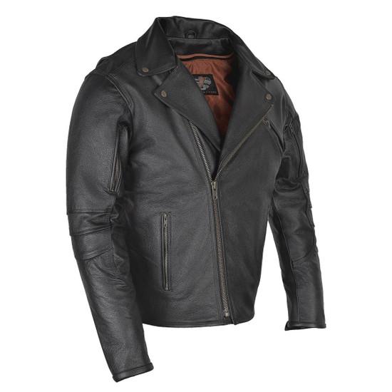 Vance VL517 Men's Dual Concealed Carry Vented Black Premium Cowhide Leather Biker Motorcycle Riding Jacket - Side View