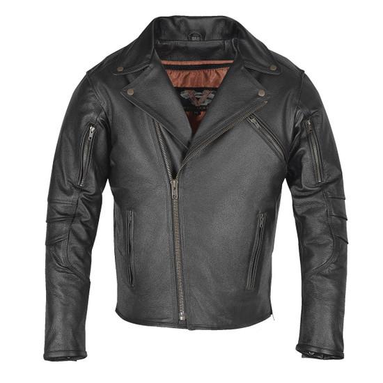 Vance VL517 Men's Dual Concealed Carry Vented Black Premium Cowhide Leather Biker Motorcycle Riding Jacket