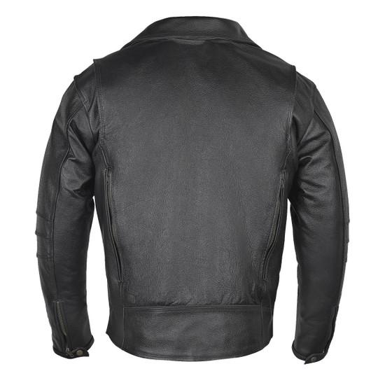 Vance VL517 Men's Dual Concealed Carry Vented Black Premium Cowhide Leather Biker Motorcycle Riding Jacket - Back View
