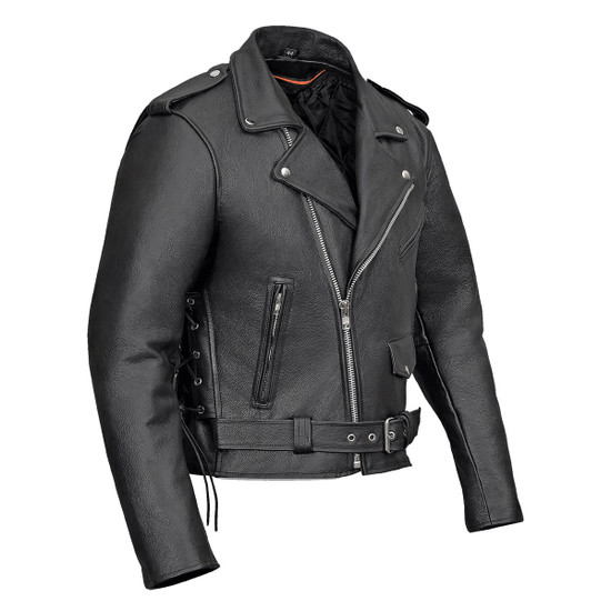 Vance VL515TG Mens Premium Cowhide Conceal Carry Insulated Liner and Side Laces Classic MC Motorcycle Biker Black Leather Jacket- Side View
