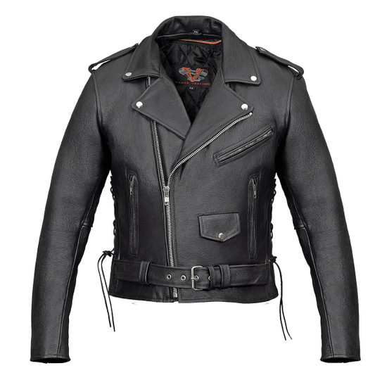Vance VL515TG Mens Premium Cowhide Conceal Carry Insulated Liner and Side Laces Classic MC Motorcycle Biker Black Leather Jacket