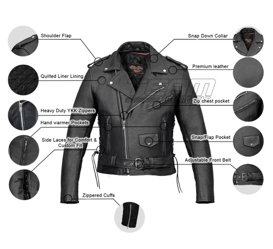 Vance VL515TG Mens Premium Cowhide Conceal Carry Insulated Liner and Side Laces Classic MC Motorcycle Biker Black Leather Jacket - Infographics