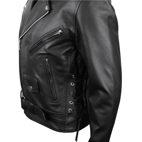 Vance VL515TG Mens Premium Cowhide Conceal Carry Insulated Liner and Side Laces Classic MC Motorcycle Biker Black Leather Jacket - side zoomed