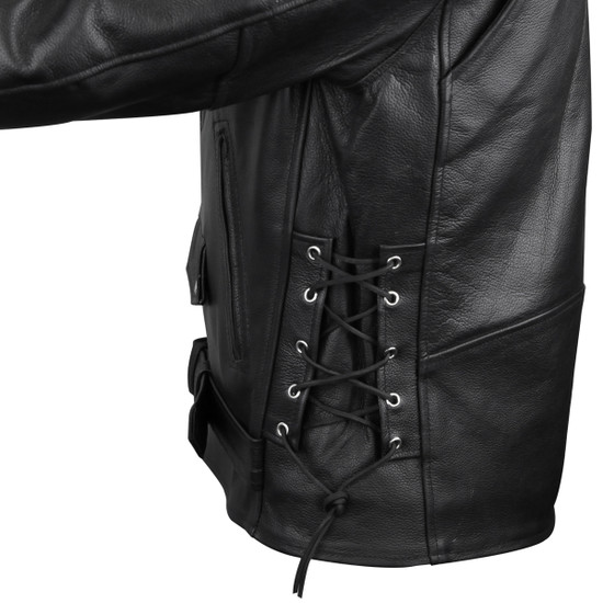 Vance VL515TG Mens Premium Cowhide Conceal Carry Insulated Liner and Side Laces Classic MC Motorcycle Biker Black Leather Jacket - side laces