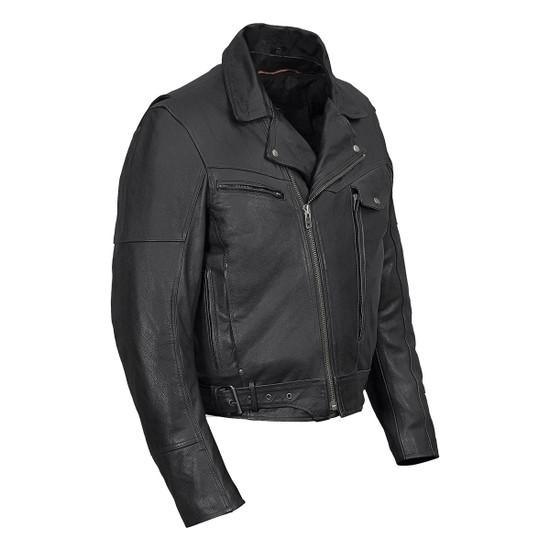 Vance VL509 Men's Functional Pockets Black Premium Cowhide Biker Cruiser Jacket - Side View