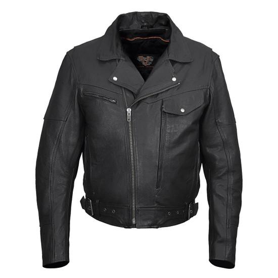 Vance VL509 Men's Functional Pockets Black Premium Cowhide Biker Cruiser Jacket
