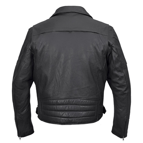 Vance VL509 Men's Functional Pockets Black Premium Cowhide Biker Cruiser Jacket - Back View