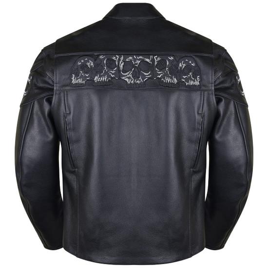 Vance VL535S Men's Black Reflective Skull Leather Biker Motorcycle Riding Jacket - Back View