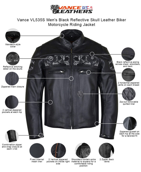 Vance VL535S Men's Black Reflective Skull Leather Biker Motorcycle Riding Jacket - Info