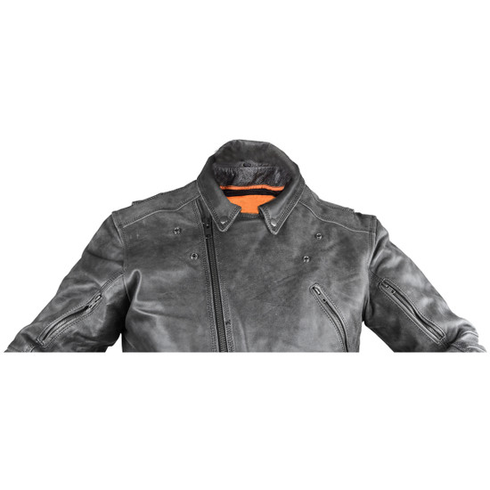 High Mileage HMM517DG Men's Beltless Dual Conceal Carry Distressed Gray Premium Cowhide Leather Biker Motorcycle Jacket - 2nd Style