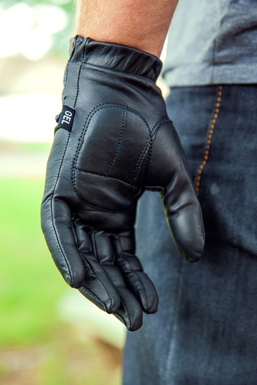 Vance GL2091 Mens Black Gel Palm Leather Driving Gloves - Detail View-1