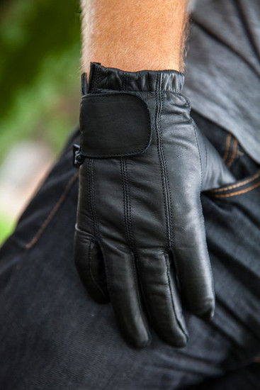 Vance GL2091 Mens Black Gel Palm Leather Driving Gloves - Detail View