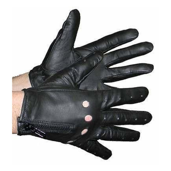 Vance VL442 Mens Black Perforated Zipper Leather Gloves
