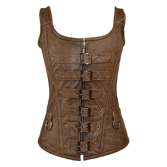 Vance Leather 6 Buckle Zip Front With Shoulder Straps Corset
