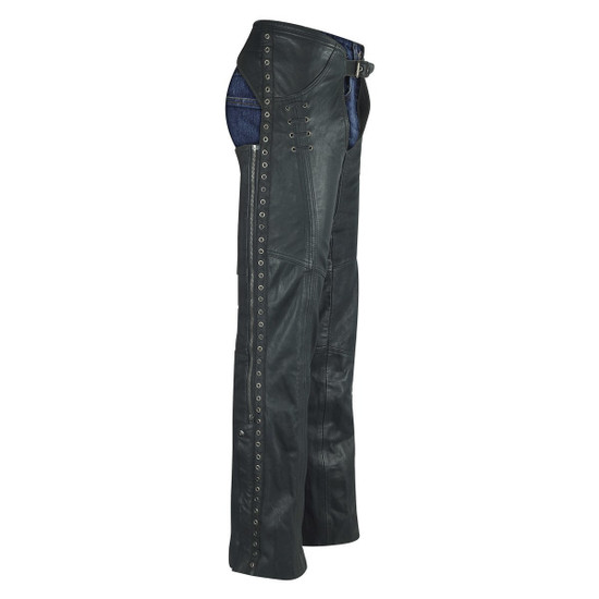 Ladies Top Grain Goatskin Leather Chaps with Grommeted Twill and Lace - Side View
