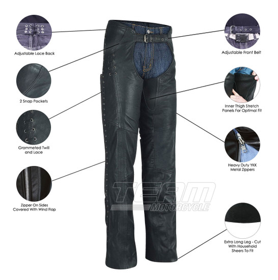 Ladies Top Grain Goatskin Leather Chaps with Grommeted Twill and Lace - Infographics