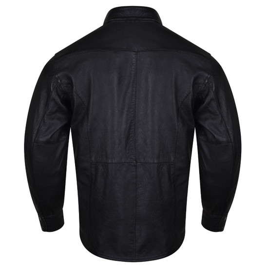 High Mileage HMM504 Men's Concealed Carry Black Premium Cowhide Leather Biker Motorcycle Shirt - Back View