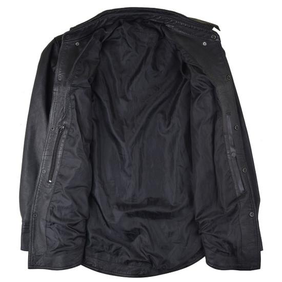 High Mileage HMM504 Men's Concealed Carry Black Premium Cowhide Leather Biker Motorcycle Shirt - Inside View