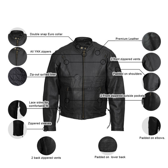 Vance Leathers Cowhide Leather Fully Lined Racer Jacket  - Infographics