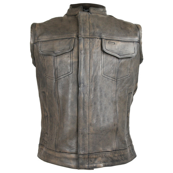 High Mileage HMM914DB Mens Premium Cowhide Distressed Brown SOA Style Biker Club Leather Motorcycle Vest