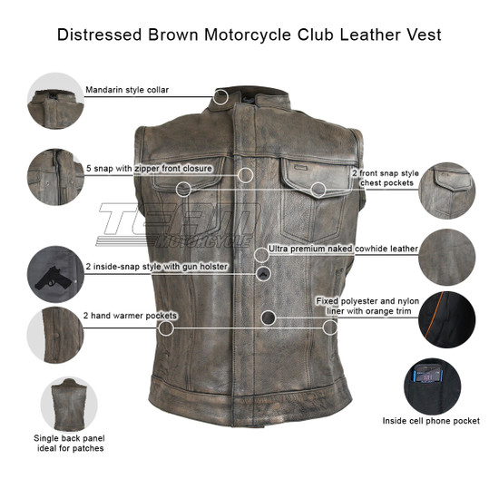 High Mileage HMM914DB Mens Premium Cowhide Distressed Brown SOA Style Biker Club Leather Motorcycle Vest - Infographics