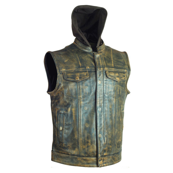 High Mileage HMM914HDB Mens Premium Cowhide Distressed Brown SOA Style Biker Club Leather Motorcycle Vest With Hoodie - Side View