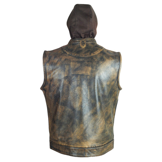 High Mileage HMM914HDB Mens Premium Cowhide Distressed Brown SOA Style Biker Club Leather Motorcycle Vest With Hoodie - Back View