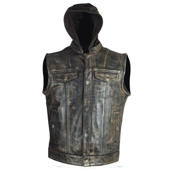 High Mileage HMM914HDB Mens Premium Cowhide Distressed Brown SOA Style Biker Club Leather Motorcycle Vest With Hoodie