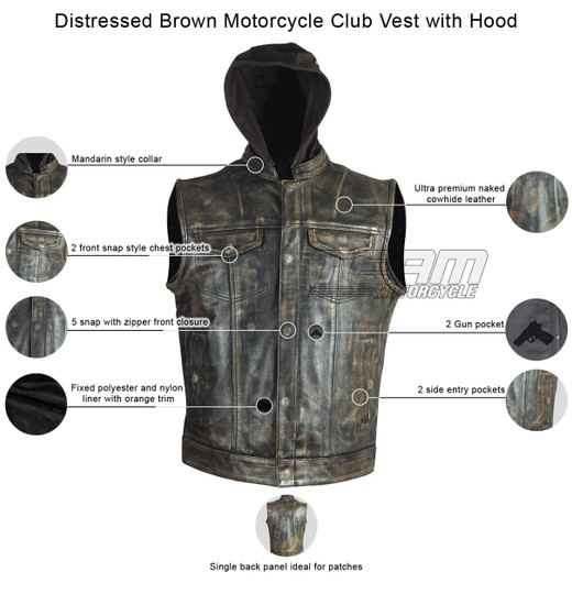 High Mileage HMM914HDB Mens Premium Cowhide Distressed Brown SOA Style Biker Club Leather Motorcycle Vest With Hoodie - Info-graphics